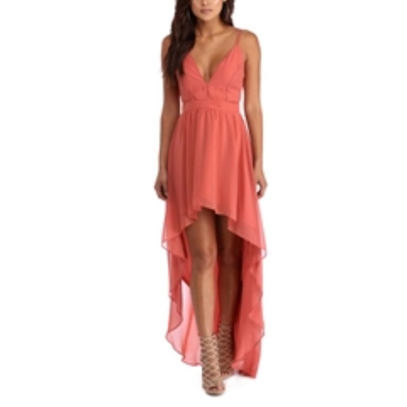 Coral High Low Dresses